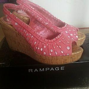 Rampage pink wedge sandals